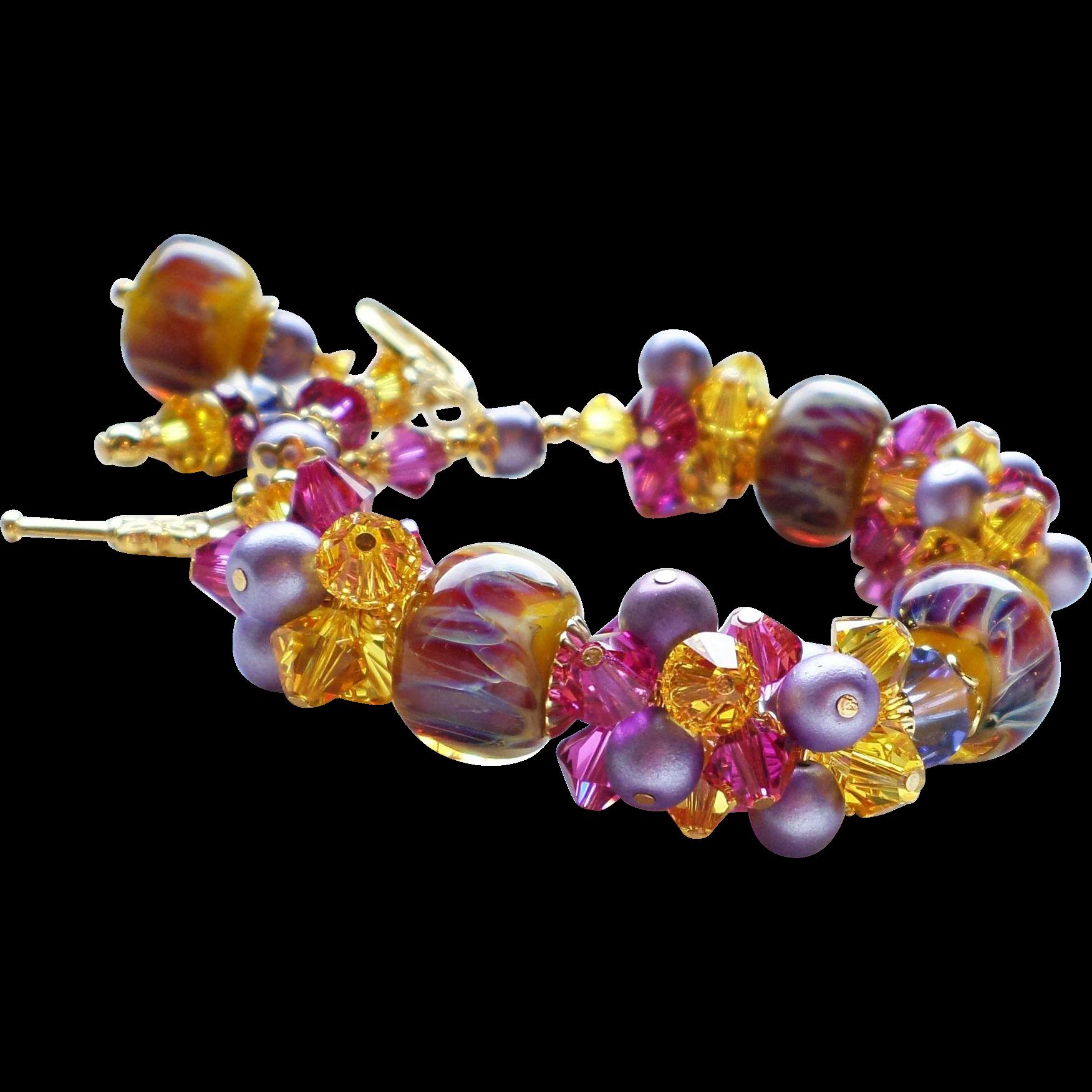 Fuchsia, Purple and Yellow Boro Lampwork Bracelet With Swarovski Crystal Clusters