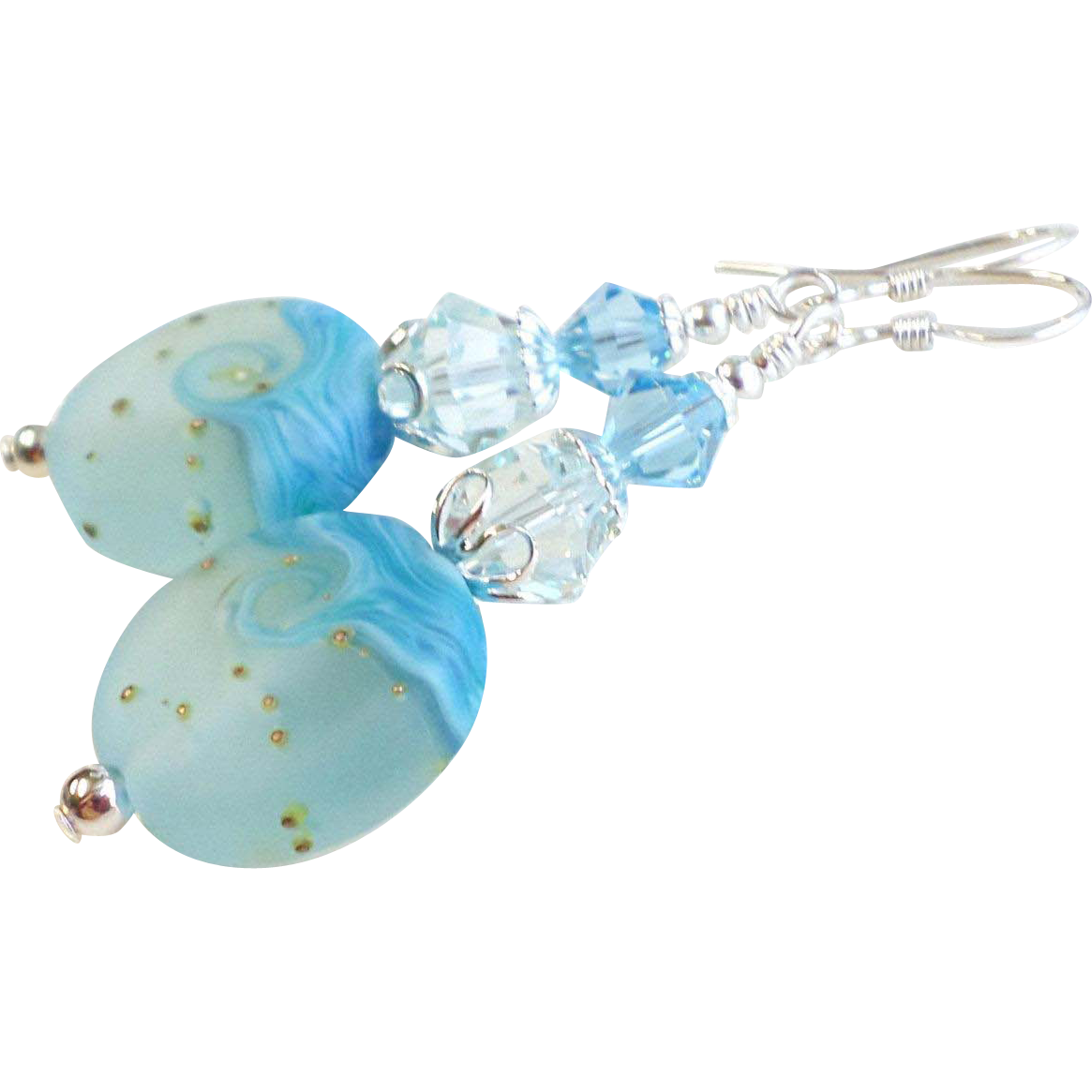 Aqua Blue Wave Lampwork Glass Earrings With Swarovski Crystals