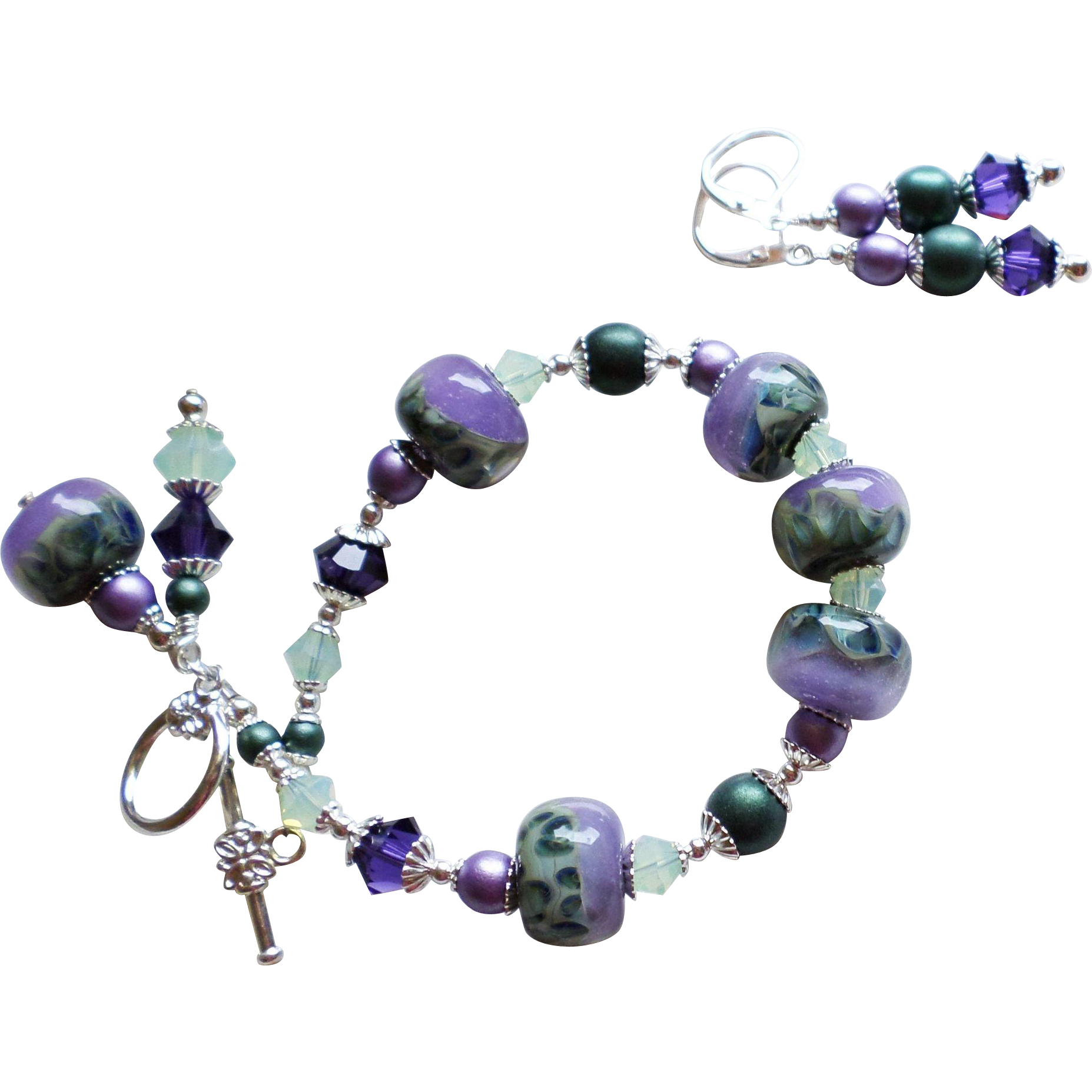 Purple and Green Boro Lampwork Glass Bracelet Earrings SET With Swarovski Crystals