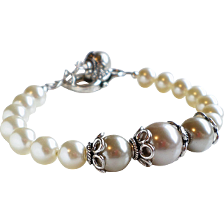 Swarovski and Glass Faux Pearl Bracelet In Cream and Light Taupe
