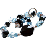 Swarovski Crystal Statement Bracelet In Jet Black and Aquamarine Shades