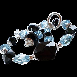 Swarovski Crystal Statement Bracelet In Jet Black and Aquamarine Shades