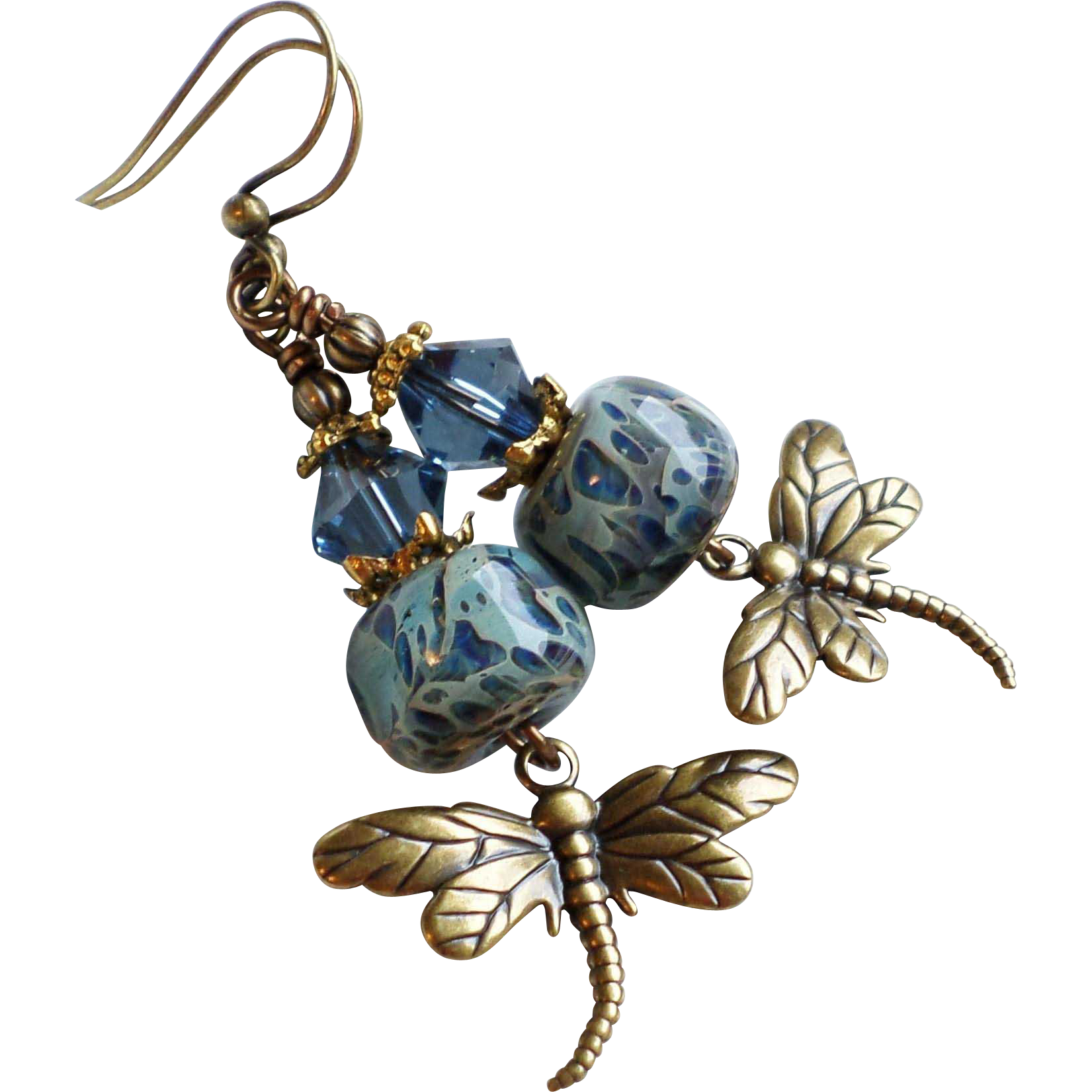 Blue Boro Lampwork Glass Earrings With Brass Dragonfly Charms