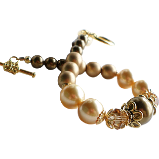 Gold and Bronze Brass Colored Faux Swarovski Pearl and Crystal Bracelet