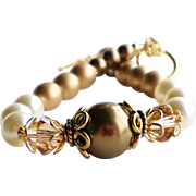 Bronze Cream and Gold Swarovski Faux Pearl and Crystal Bracelet