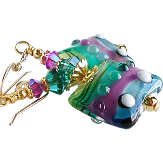 Teal and Fuchsia Lampwork Swarovski Crystal Earrings