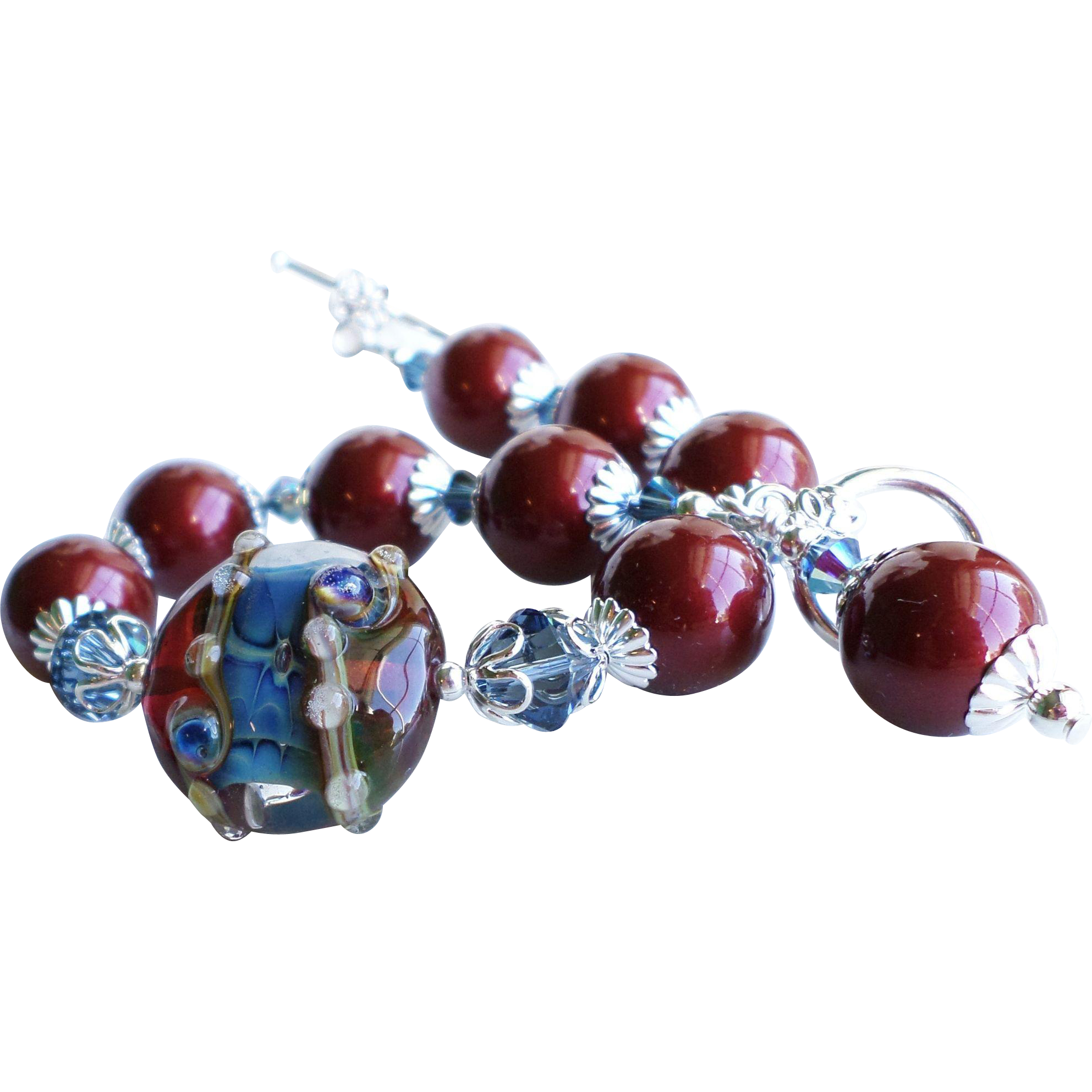 Deep Red and Blue Lampwork Bracelet With Swarovski Crystals and Faux Pearls