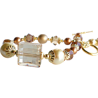 Golden Girl Swarovski Crystal and Faux Pearl Bracelet