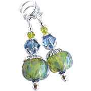 Blue Green Boro Lampwork Earrings