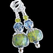 Blue Green Boro Lampwork Earrings