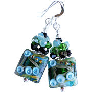 Lampwork Earrings With Swarovski Crystal Clusters In Blue and Green