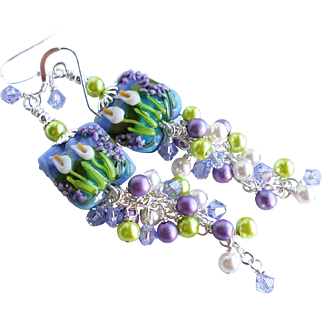 Calla Lily Long Lampwork Cluster Earrings