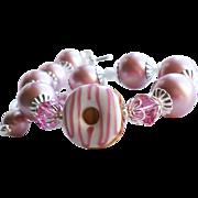 Donut Theme Lampwork Bracelet With Swarovski Faux Pearls