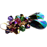 Swarovski Crystal Rainbow Dark AB Cluster Earrings