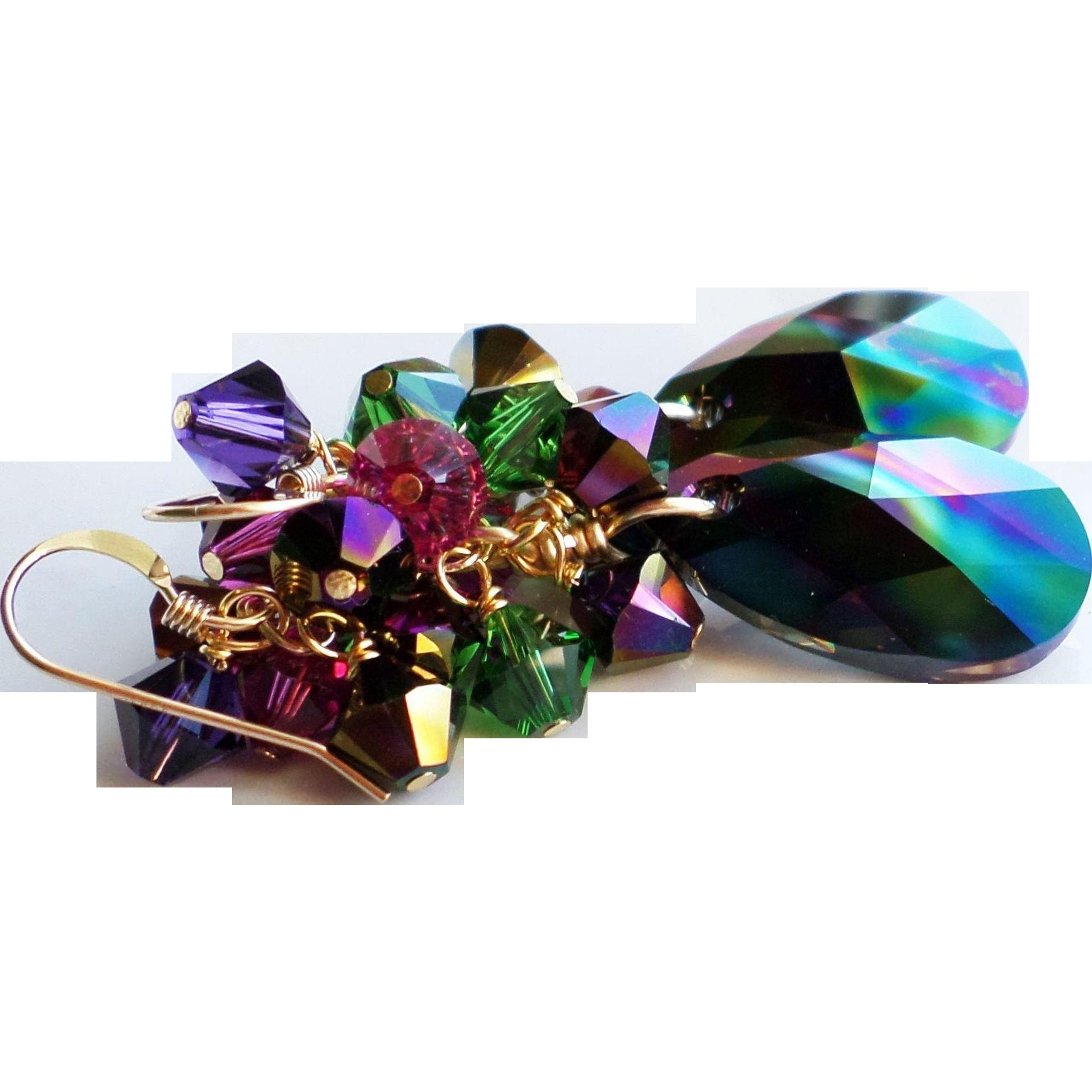 Swarovski Crystal Rainbow Dark AB Cluster Earrings