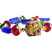 Venetian 24KT Gold Foil Czech Glass Swarovski Crystal Bracelet