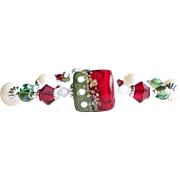 Red Green and White Lampwork Swarovski Crystal and Pearl Bracelet