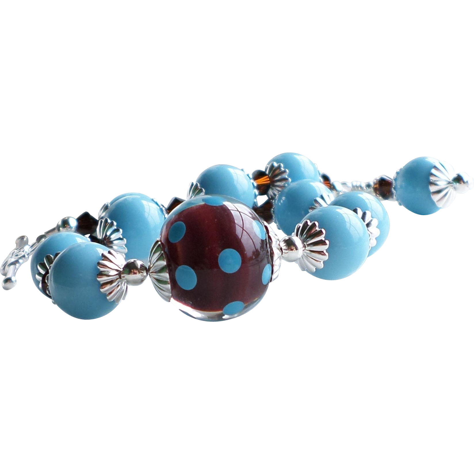 Turquoise Blue and Chocolate Brown Lampwork Bracelet With Swarovski Crystals