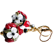 Red Black and White Floral Lampwork Earrings