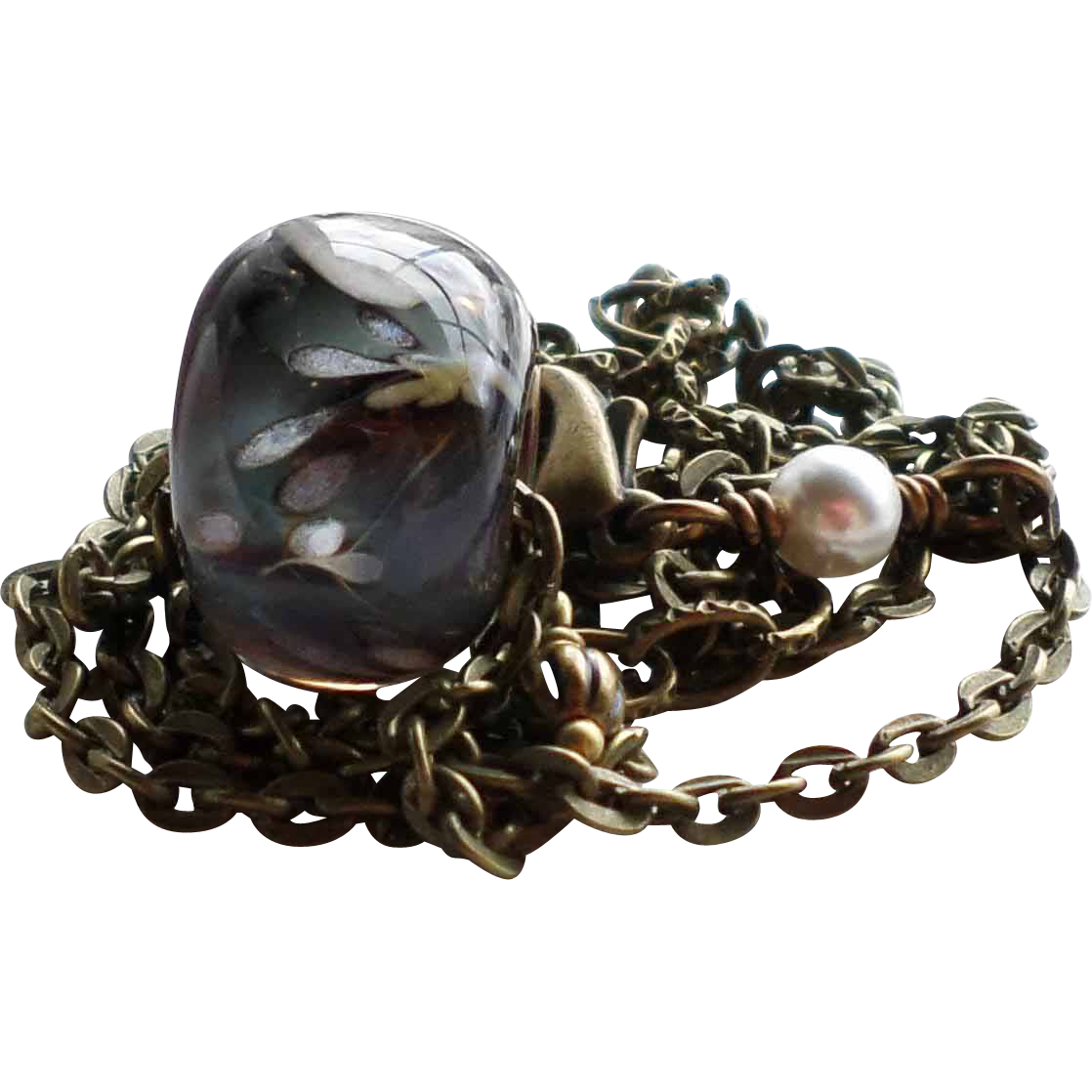 Boro Lampwork Necklace With Aged Brass Finished Chain