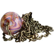 Boro Lampwork Necklace With Aged Finished Brass Chain