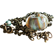 Boro Lampwork Glass Necklace With Antique Finished Brass Chain