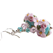 Turquoise and Pink Floral Lampwork Earrings With Swarovski Crystals