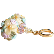 ON HOLD for MK ~ Floral Lampwork Earrings With Swarovski Crystals