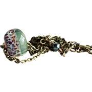 Boro Lampwork Glass Bead Necklace With Aged Brass Finished Chain