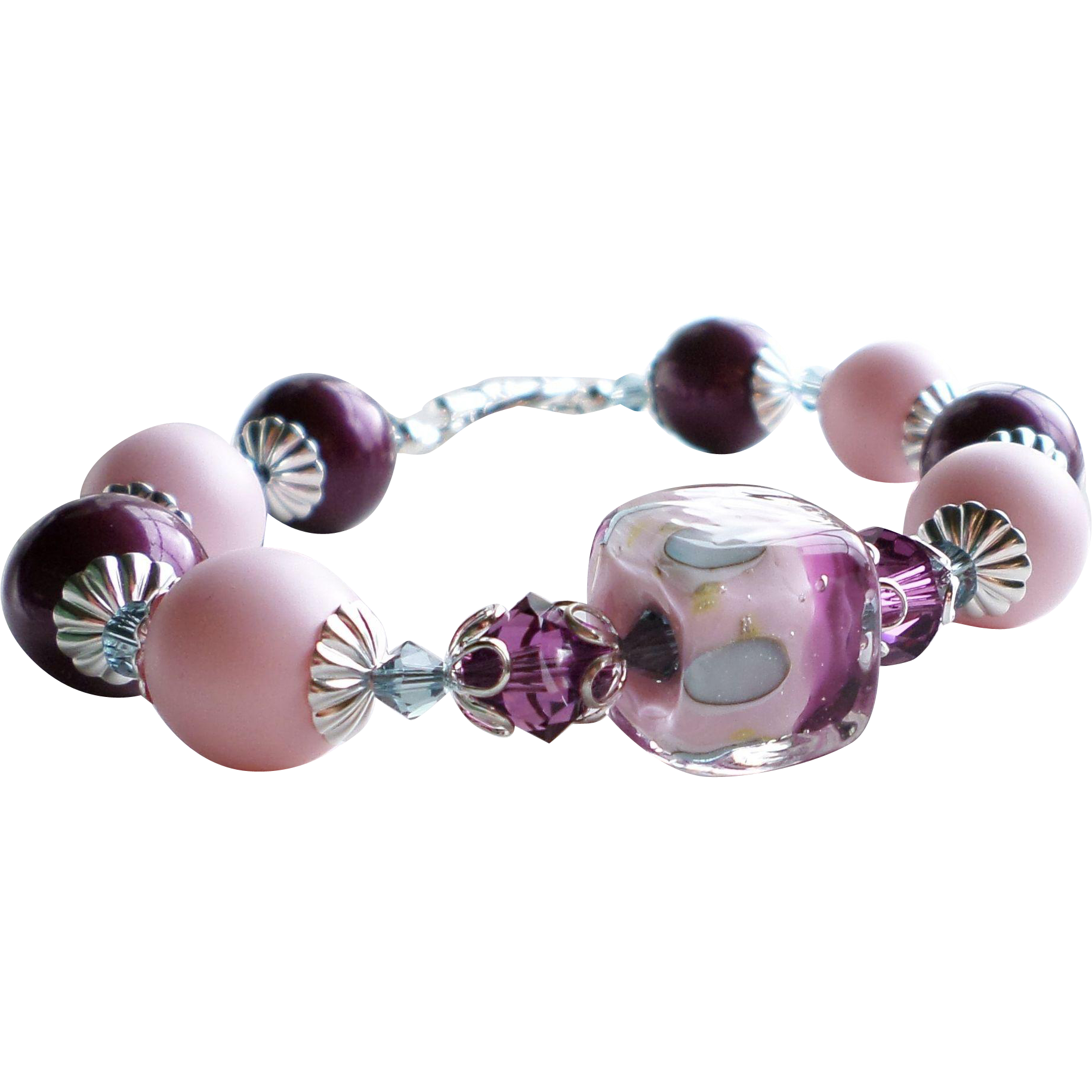Pink and Purple Boro Lampwork Glass Bracelet With Swarovski Faux Pearls and Crystals