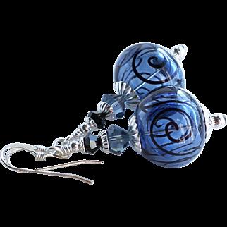 Blue and Black Scroll Hollow Lampwork Earrings