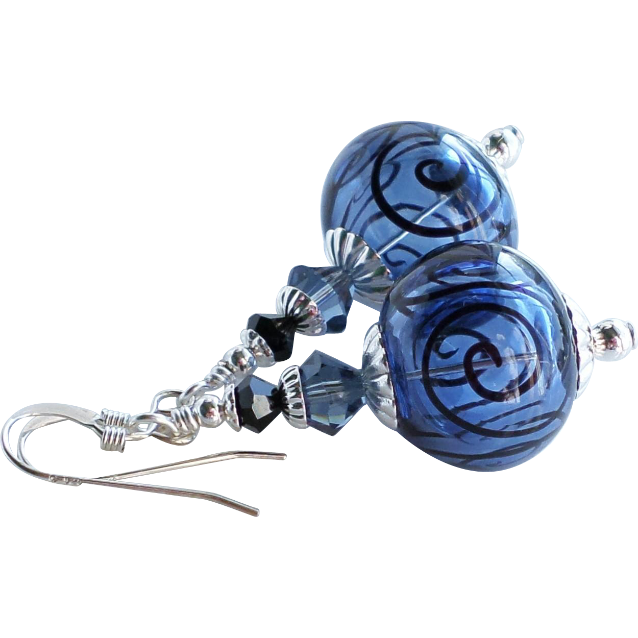 Blue and Black Scroll Hollow Lampwork Earrings