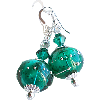 Emerald Green and Silver Hollow Lampwork Earrings With Swarovski Crystals