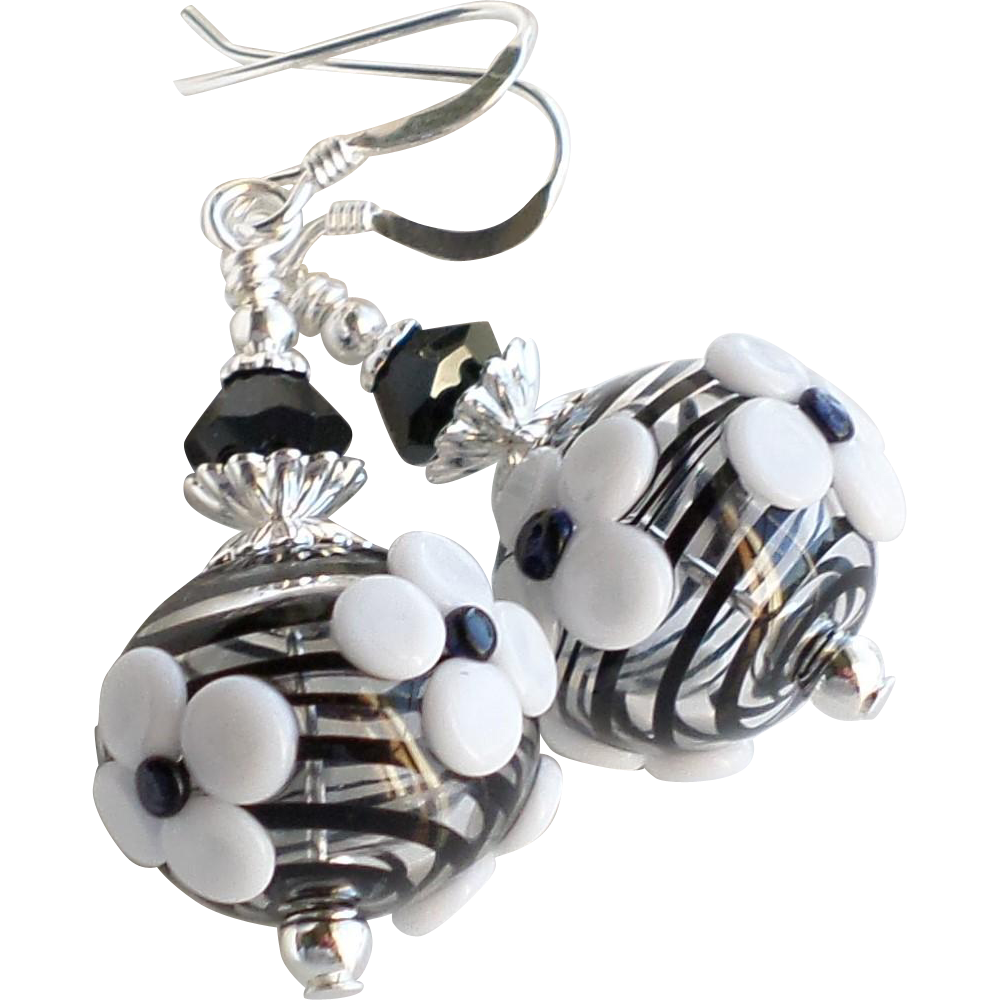 Black and White Floral Lampwork Earrings With Swarovski Crystals