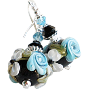 Blue and Black Floral Lampwork Earrings