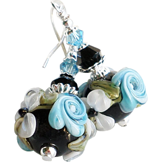 Blue and Black Floral Lampwork Earrings