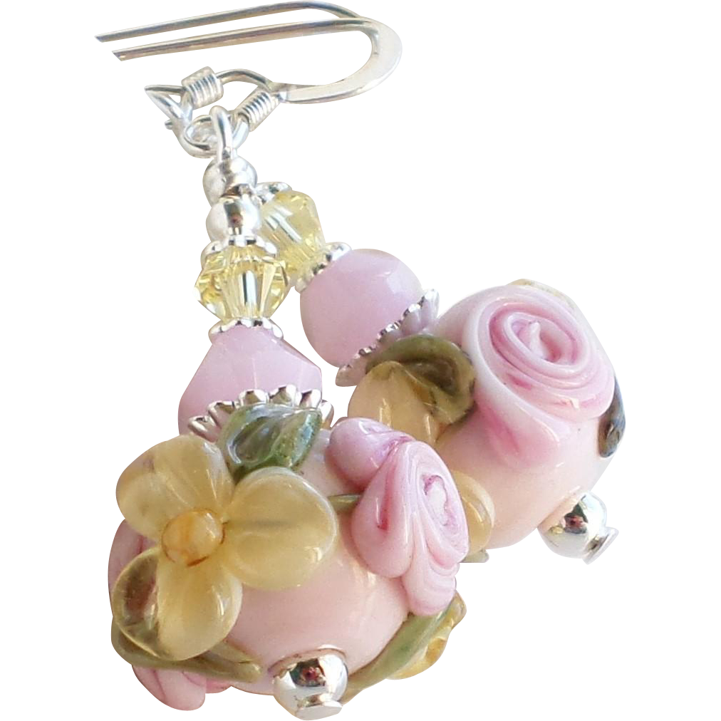 Pink and Yellow Floral Lampwork Earrings