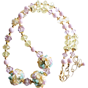 Custom Listing for MK - Floral Lampwork Necklace With Swarovski Crystals and Faux Pearls