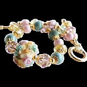 Custom Listing for MK - Floral Lampwork Bracelet