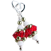 Christmas Themed Red Green and White Swarovski Crystal Cluster Earrings With Swarovski Faux Pearls