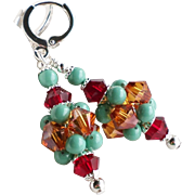 Copper, Turquoise and Dark Red Swarovski Crystal and Faux Pearl Cluster Ball Earrings