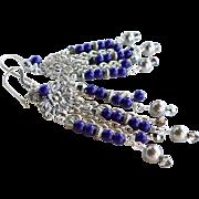 Lapis Blue Czech Glass and Swarovski Crystal Long Chandelier Earrings