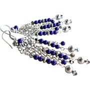 Lapis Blue Czech Glass and Swarovski Crystal Long Chandelier Earrings