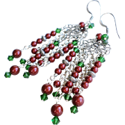 Red and Green Holiday Theme Long Swarovski Crystal and Faux Pearl Chandelier Earrings
