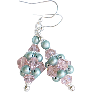 Vintage Rose and Sage Green Cluster Ball Medium Earrings - Swarovski Crystals and Faux Pearls