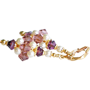 Swarovski Crystal Medium Cluster Earrings With Faux Pearls in Blush Rose and Amethyst
