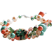 Lampwork Bracelet With Swarovski Crystals and Faux Pearls In Peach and Turquoise