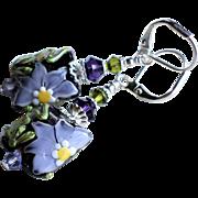 Lavender Purple Floral Lampwork Earrings