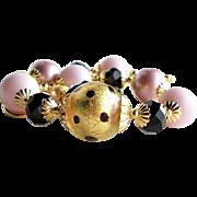 22KT Gold Foil Venetian Glass Swarovski Faux Pearl Bracelet