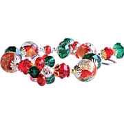 Red Green and Crystal Swarovski Crystal and Lampwork Glass Holiday Bracelet